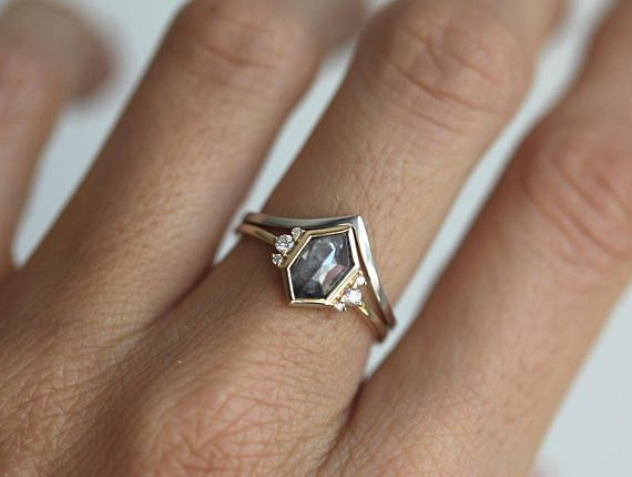 Hexagon Rose Cut Diamond, Grey Diamond Ring, Unique Diamond Ring, Modern Diamond Ring, Rose Cut Engagement Ring, Simple Diamond Ring