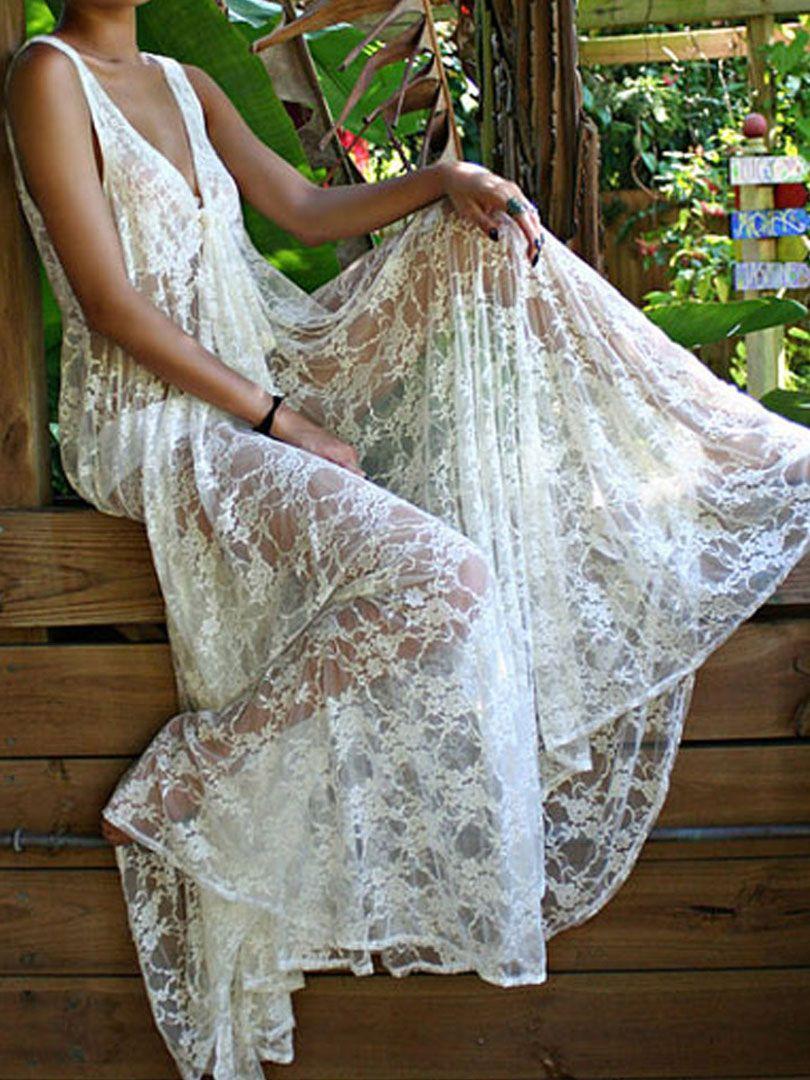 White Lace V-neck Semi-sheer Sleeveless Maxi Beach Dress | abaday