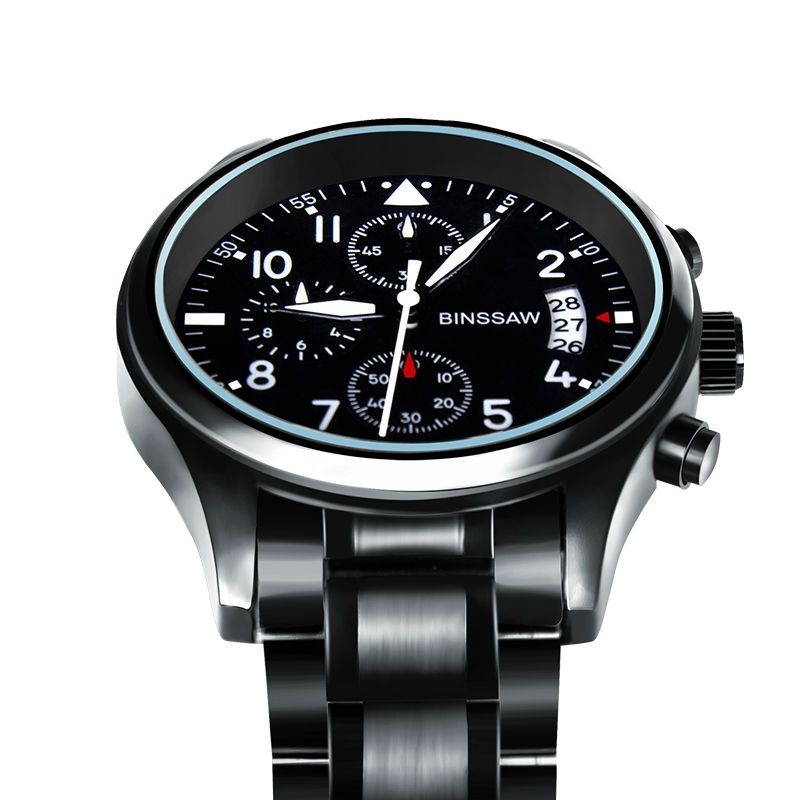 97301a8355cd Reloj Binssaw cuarzo auténtico Original para hombres de lujo de acero  inoxidable zafiro. Impermeable relojes deportivos luminosos.