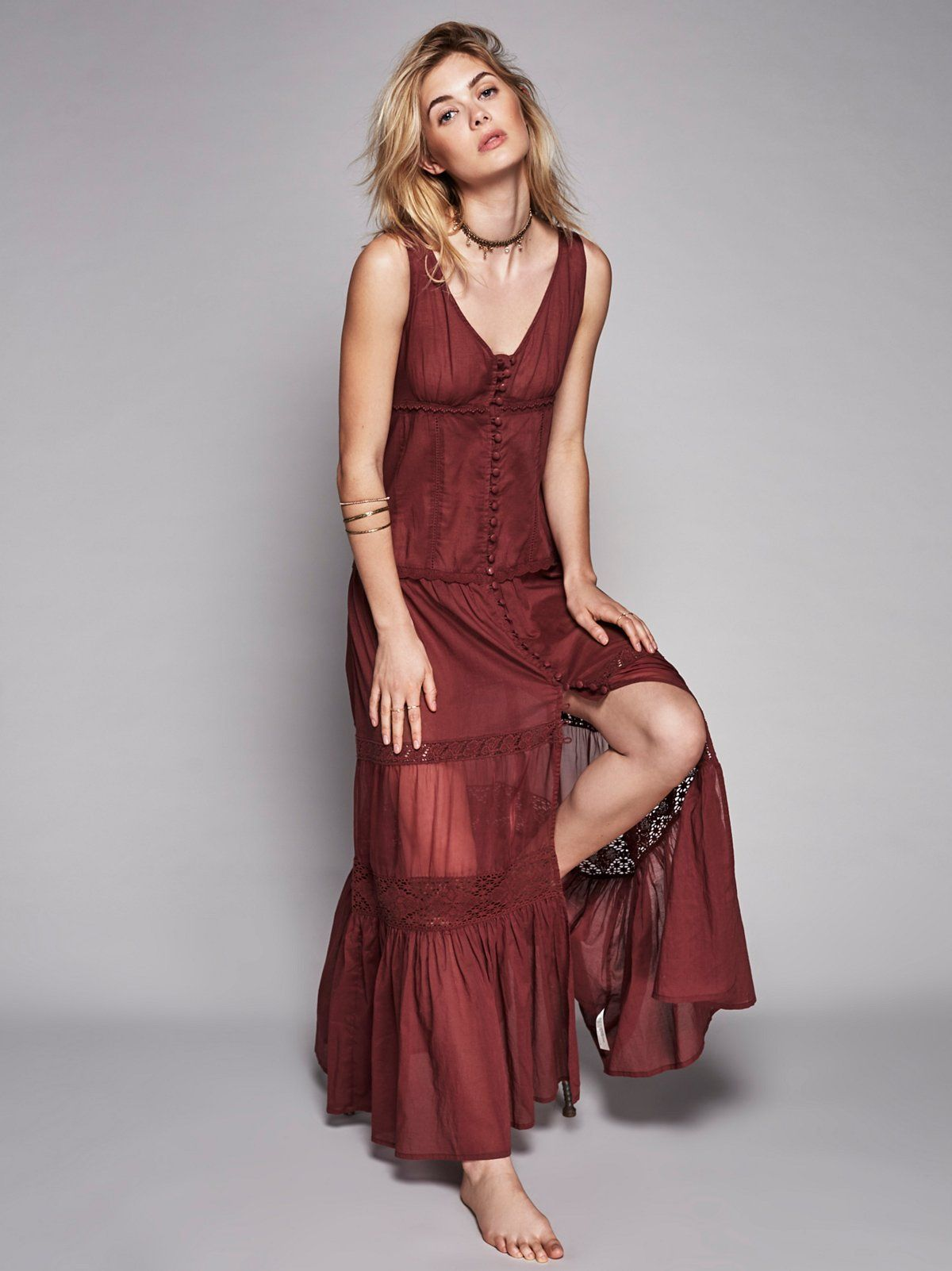 a192418086fe5 Victoria Buttonfront Maxi | Sheer maxi slip dress with a V-Neck. Button  detailing down the front and crochet accents throughout. Front slit.