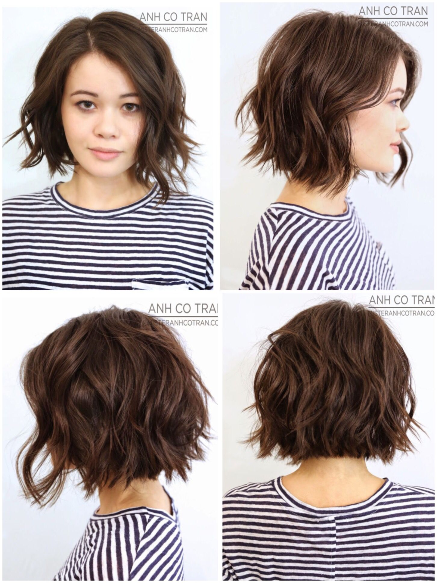 360 View Of Great Classic Bob Gone Messy Haircuts For Wavy Hair Textured Haircut Wavy Bob Haircuts