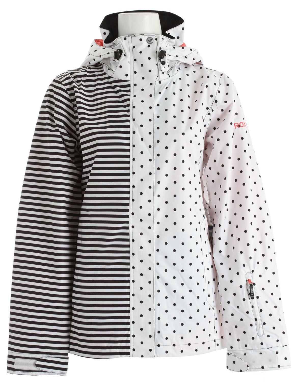 8f8d81a254d1 Roxy Jet Shell Snowboard Jacket Black White Stripes   Dots ...