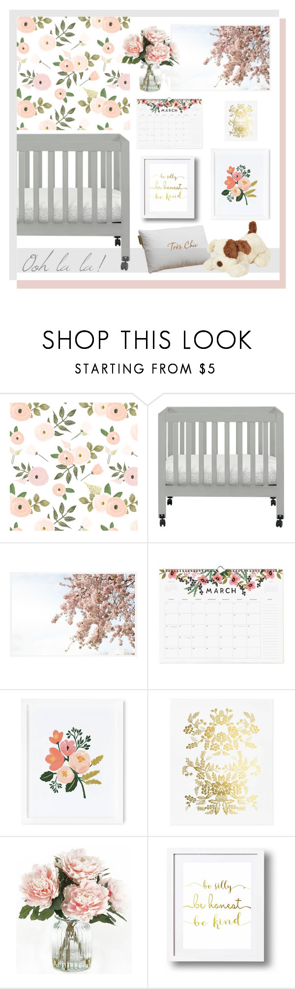 """""""florals for baby."""" by tothineownselfbtrue ❤ liked on Polyvore featuring interior, interiors, interior design, home, home decor, interior decorating, Boppy, Babyletto, Pottery Barn and Rifle Paper Co"""
