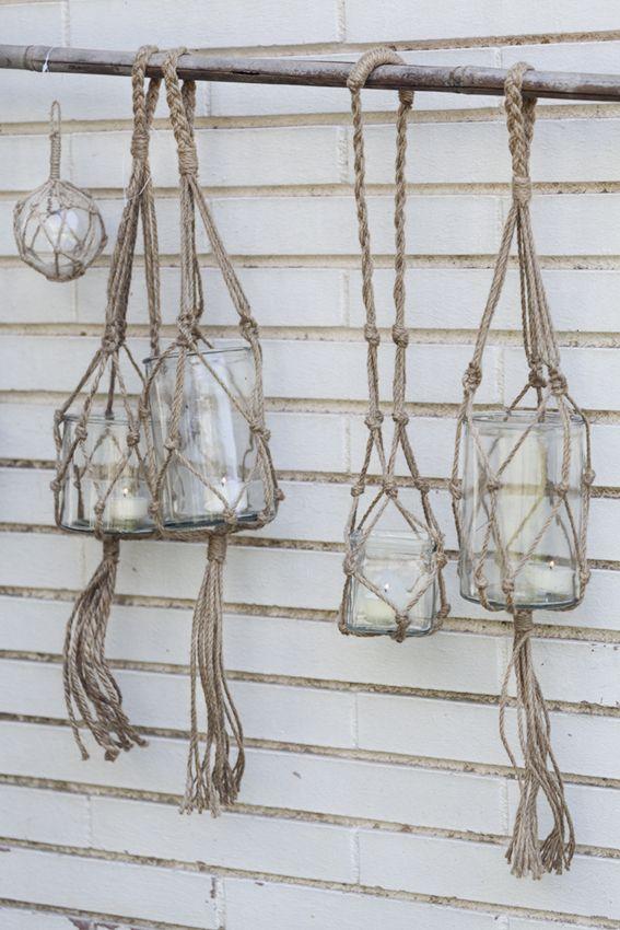 Ambientes marineros con farolillos de cristal y cuerda de - Farolillos de exterior ...