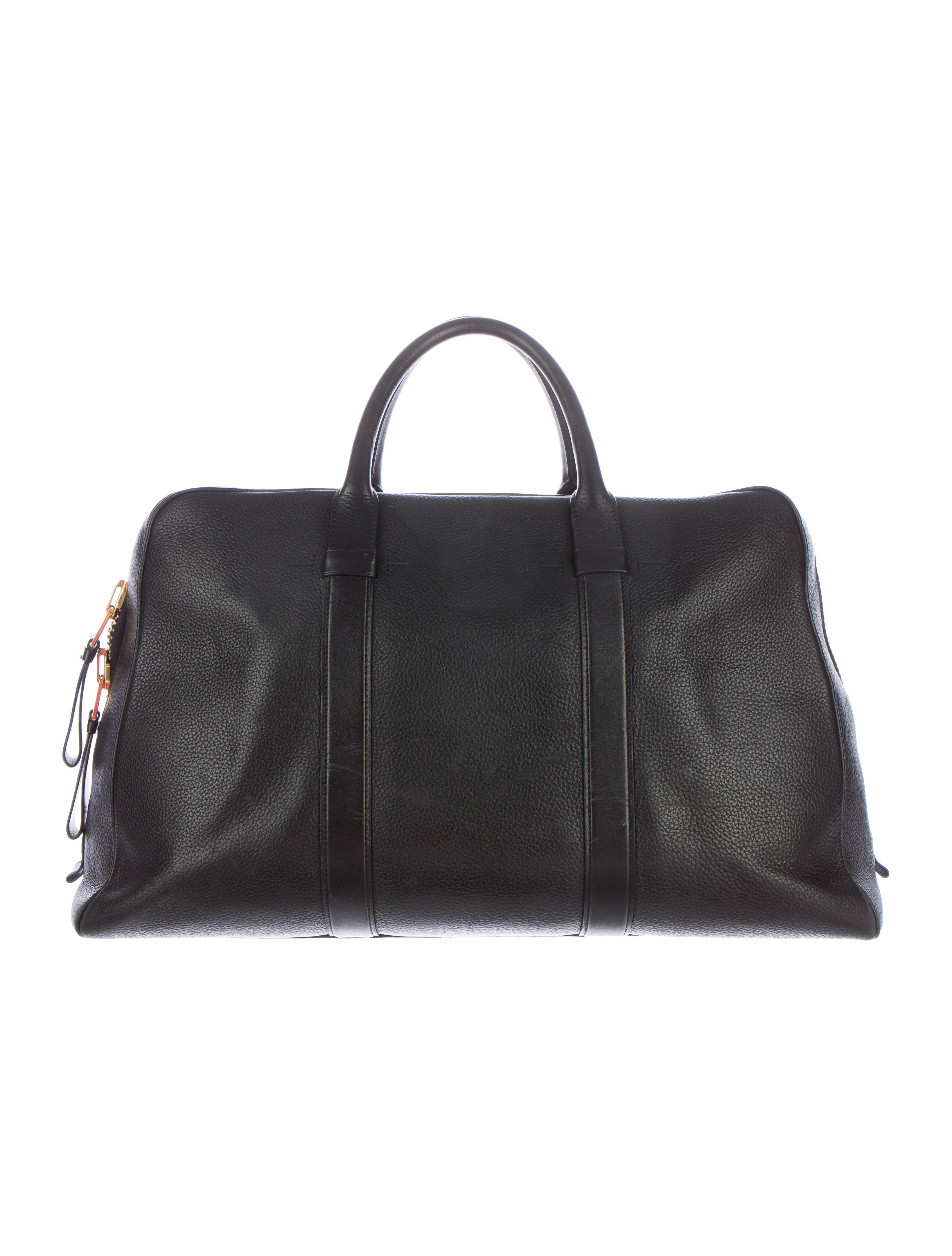 c74710e608c2 Men s black grained leather Tom Ford Small Buckley Duffel Bag with gold