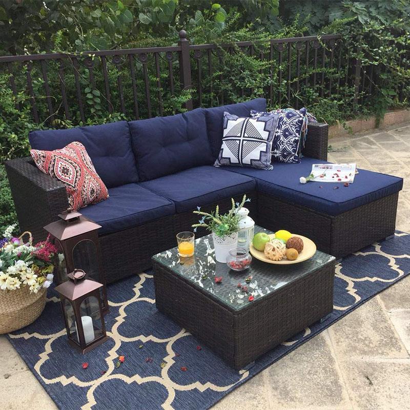3 Piece Rattan Outdoor Sectional Sofa Set Wicker Patio Furniture