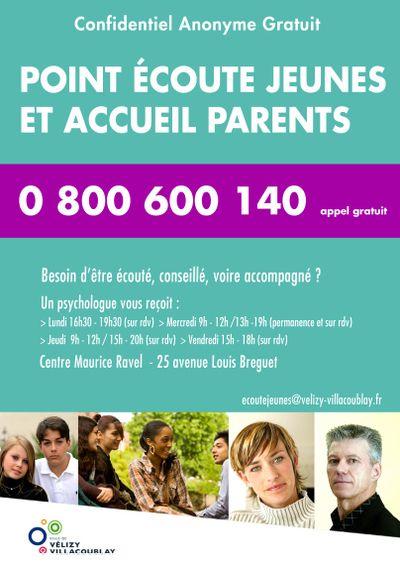 Point Écoute Jeunes et Accueil Parents au Centre Maurice Ravel 25 avenue Louis Breguet sur RV aux horaires sur l'affiche. http://www.velyjeunes.fr/fr/menu-du-haut/espace-prevention-sante/ecoute-jeunes.html