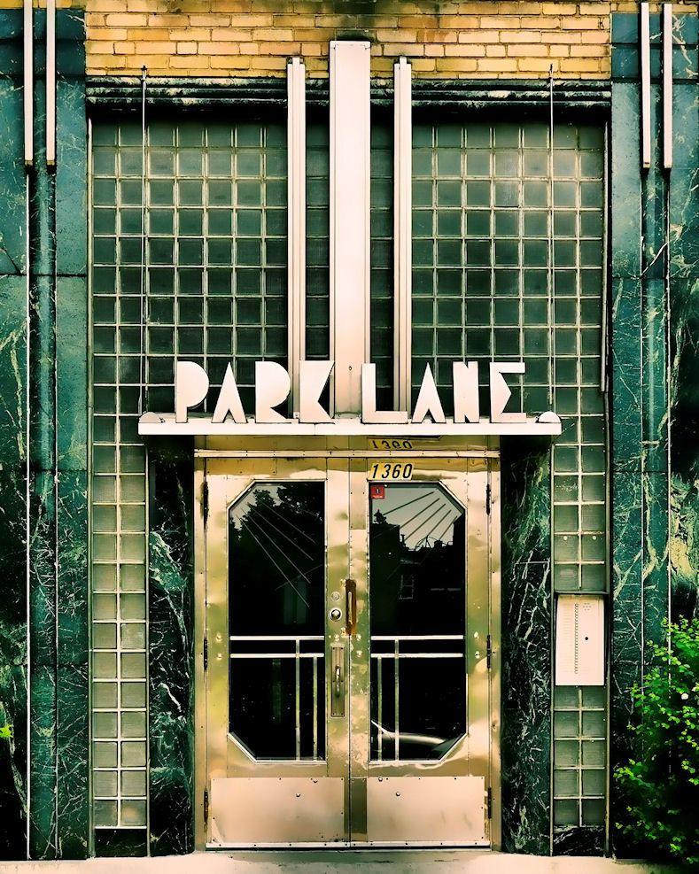 montreal geometric print art deco architecture green glass chrome