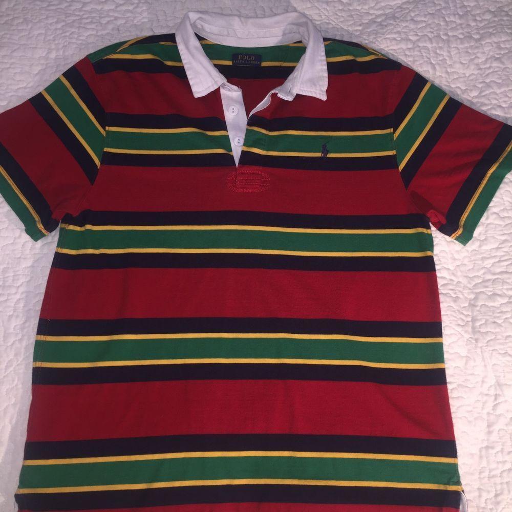 1c73b7109 Vtg 90 s Men s Polo Ralph Lauren Blue Red Yellow Striped Polo Shirt Size  Medium