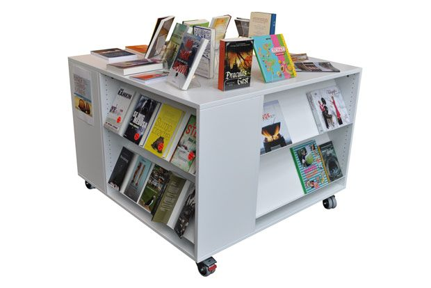 Frontline Square Display Furniture Displays Books In A Square Unit With  Shelves On All Four Sides
