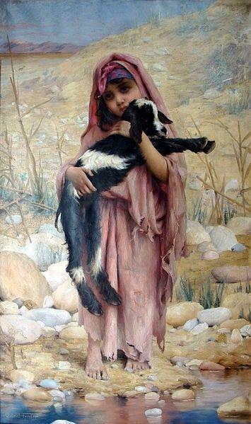 Algérie - Peintre Français Gabriel Ferrier (1847 – 1914,), huile sur toile, Titre : Jeune bergère Algérienne