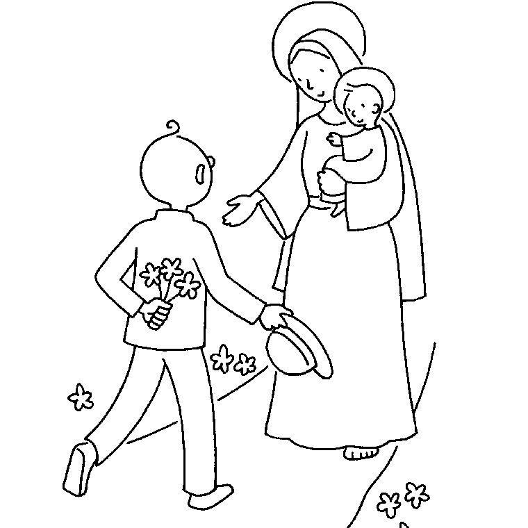Coloriage Vierge Marie a Imprimer Gratuit | Coloriage, Coloriage