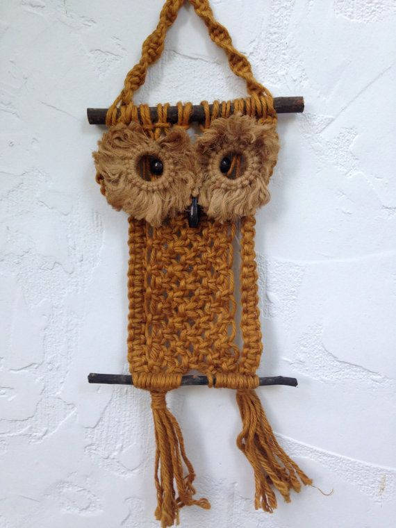 32e573a55 SOLD  70 s MACRAME OWL Wall Hanging    Hippie Chic    by ...