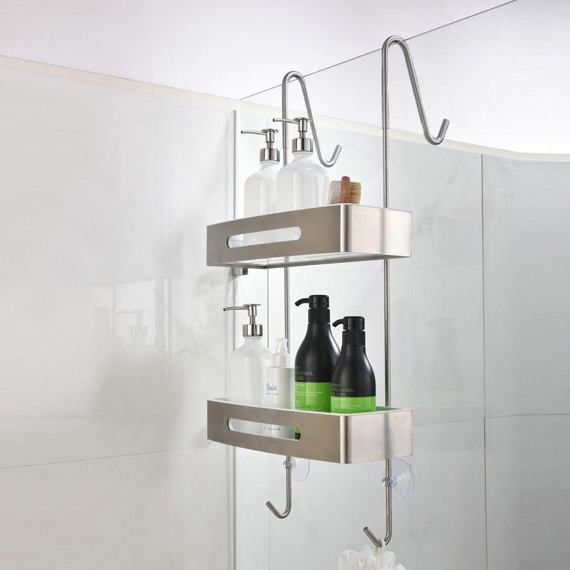Étagère double pour paroi de douche, inox brossé, Steel ...