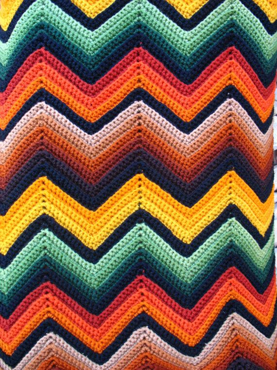 Vintage Chevron Afghan Zigzag Blanket The Family Had One Like