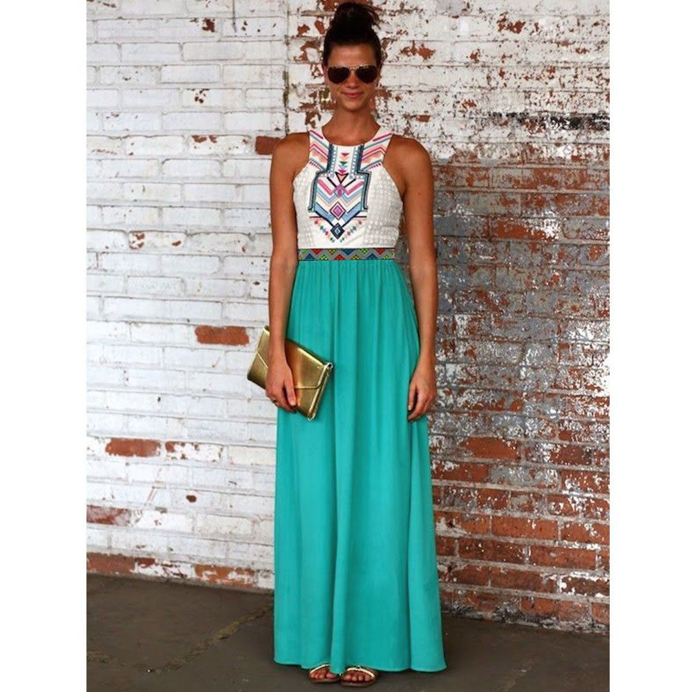 New boho womens summer chiffon ladies party evening beach long maxi ...