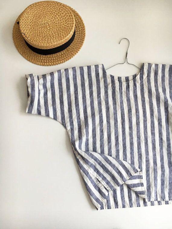 Linen Top, Linen Shirt Women, Shirt with Sleeves, Linen T Shirt, Linen Tee, Plus size shirt, Loose Shirt, Plus size top, Beach Vacation Navy #beachvacationclothes