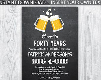 40th birthday invites for him