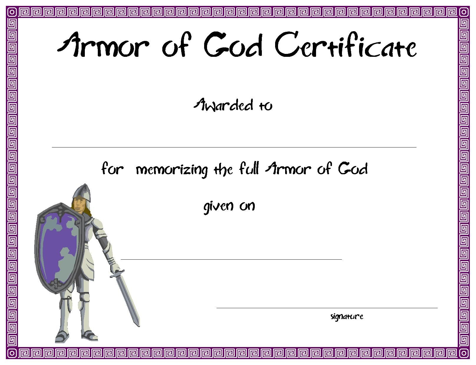 Certificatetemplate Armor Of God Certificate For