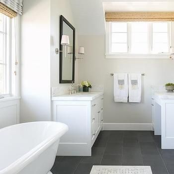 White Bathroom With Slate Floor Transitional