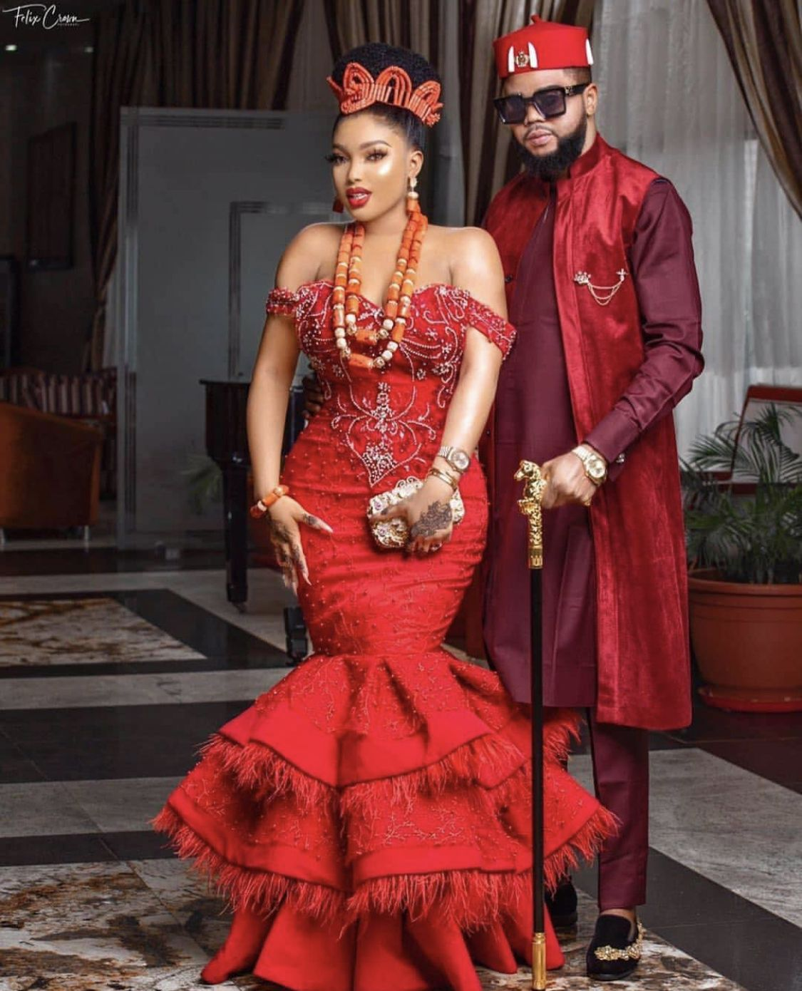 The Layers Go Down And Lower And Wider Add To Beyonce Dress With Fury In 2020 African Traditional Dresses Nigerian Wedding Dress Nigerian Wedding Dresses Traditional