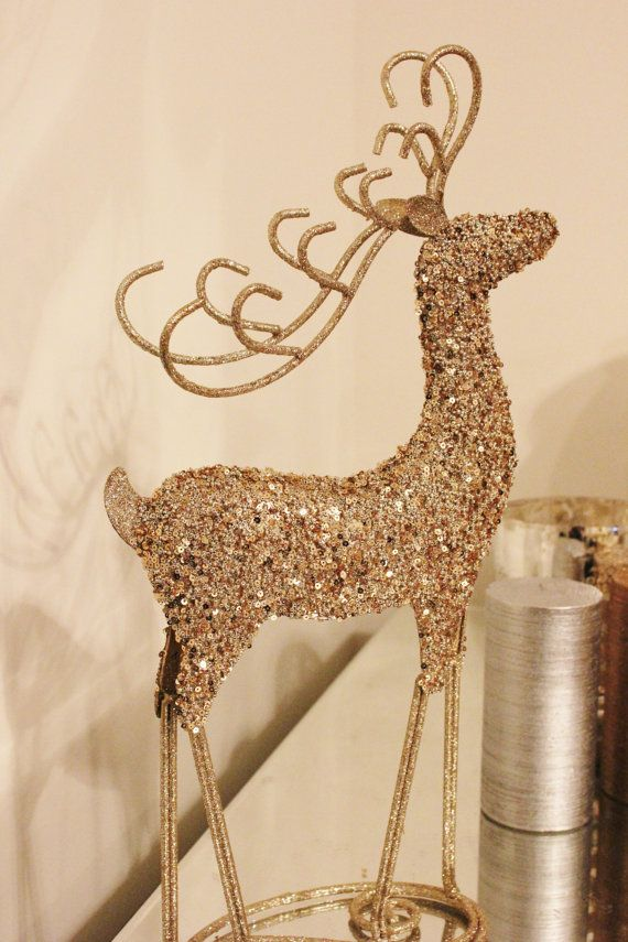 Glittery Reindeer Gold Glitter Figurine Statue Figure Sequined Beaded Golden Christmas Holiday Decor D Gold Reindeer Antler Christmas Holiday Party Decorations