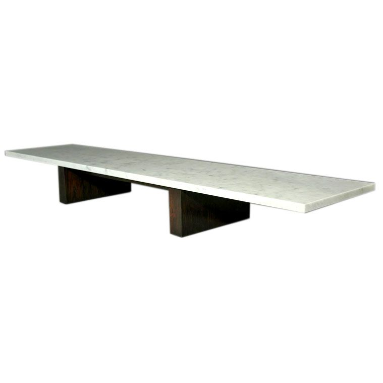 Long And Low Rosewood Coffee Table With Thick Marble Top | From A Unique  Collection Of