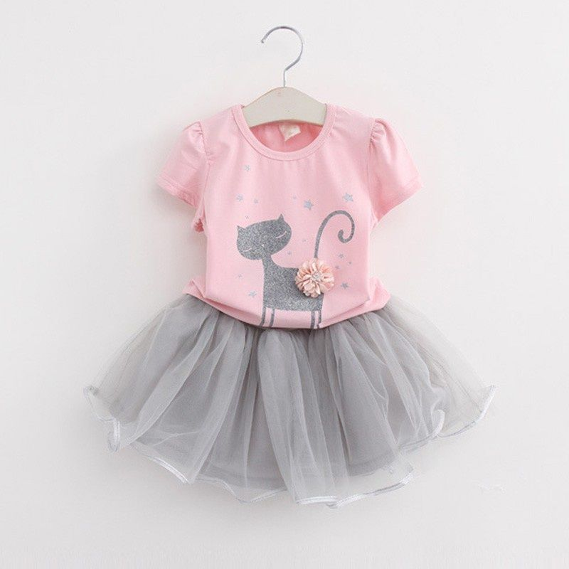 Lovely Short-sleeve Cat Print T-shirt and Tulle Skirt Set for Baby Girl and Girl – Summer outfits