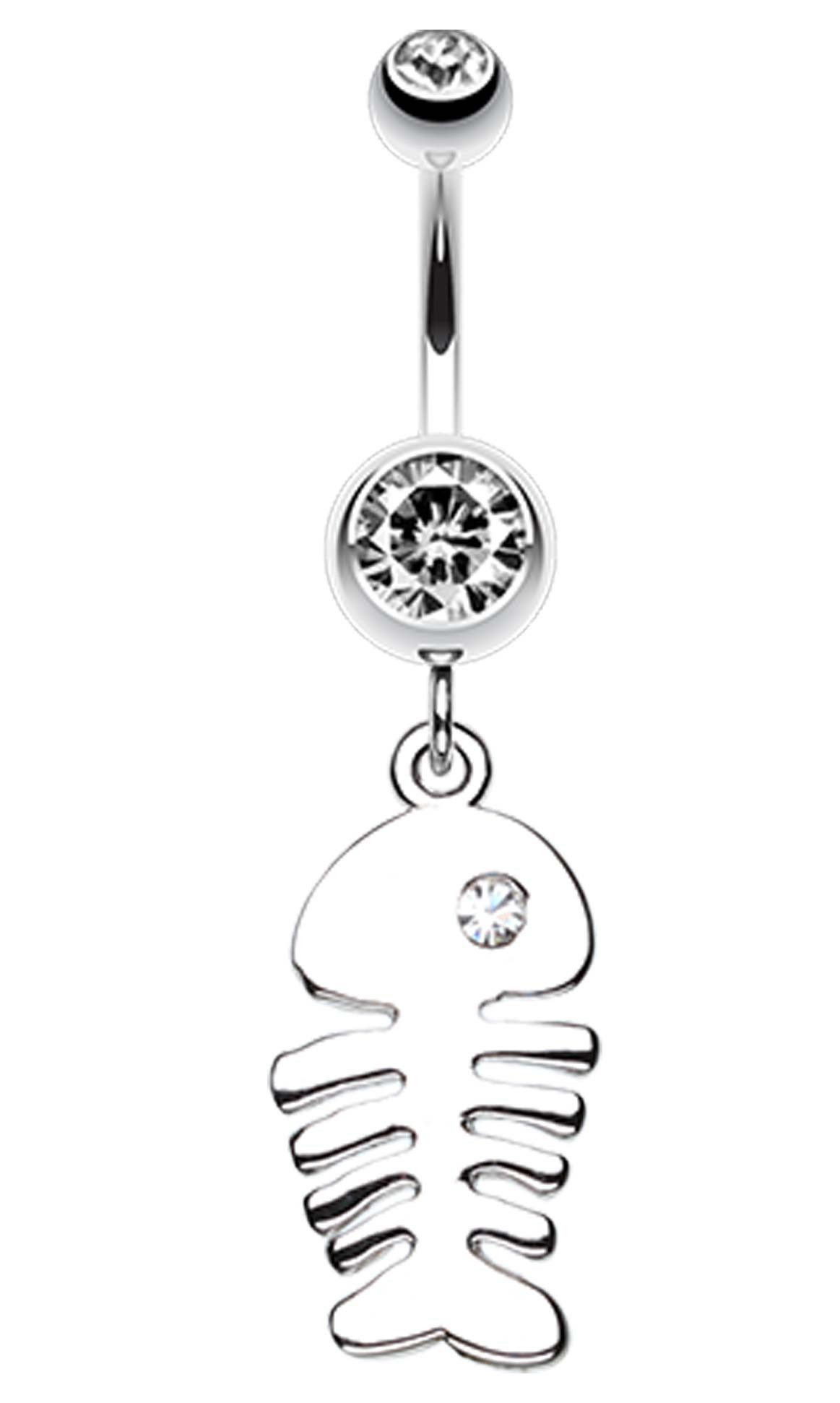 Belly button piercing names  Jeweled Eye Fish Bone Belly Button Ring  Belly button Jewel and Ring