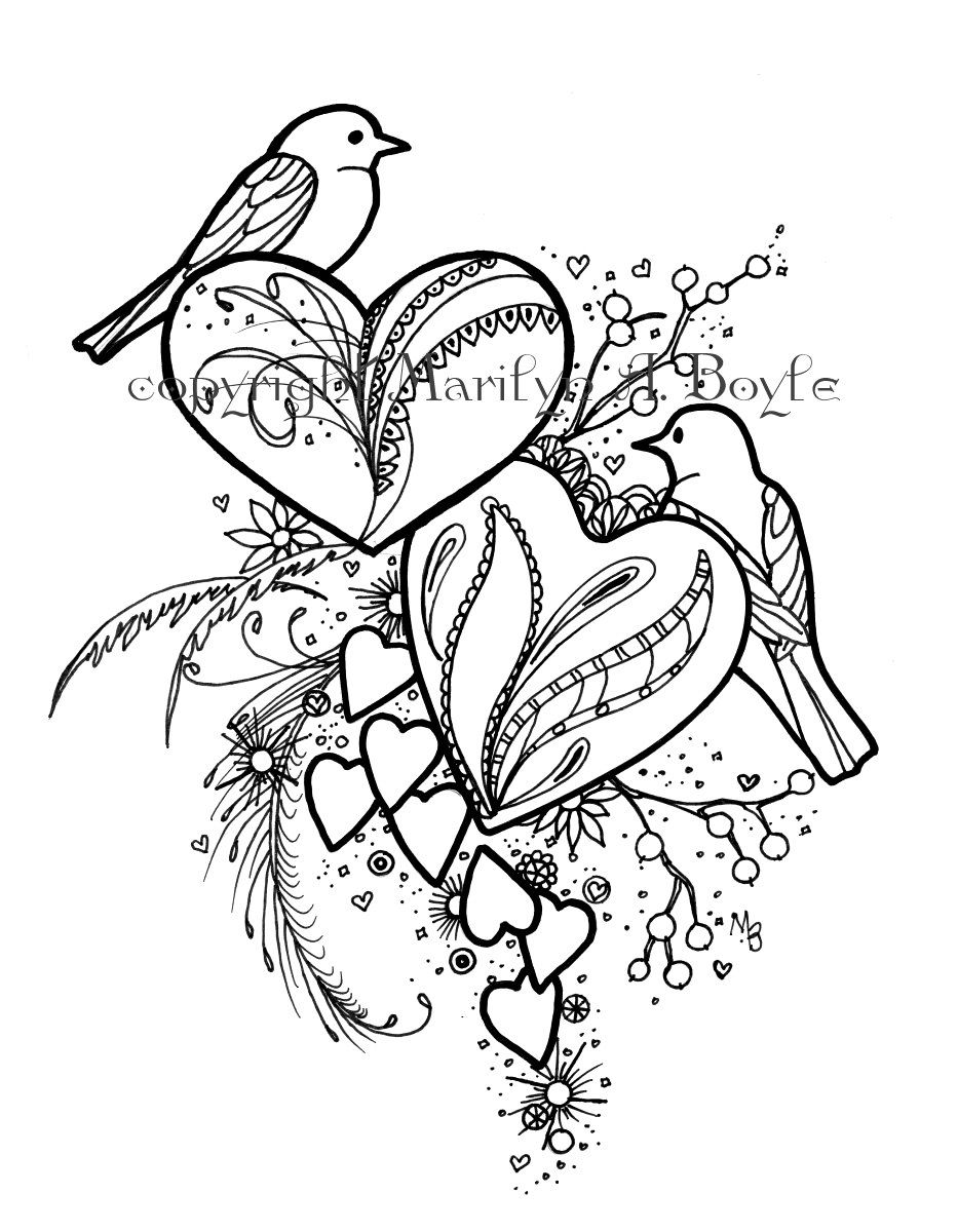 coloring page hearts digital download original drawing
