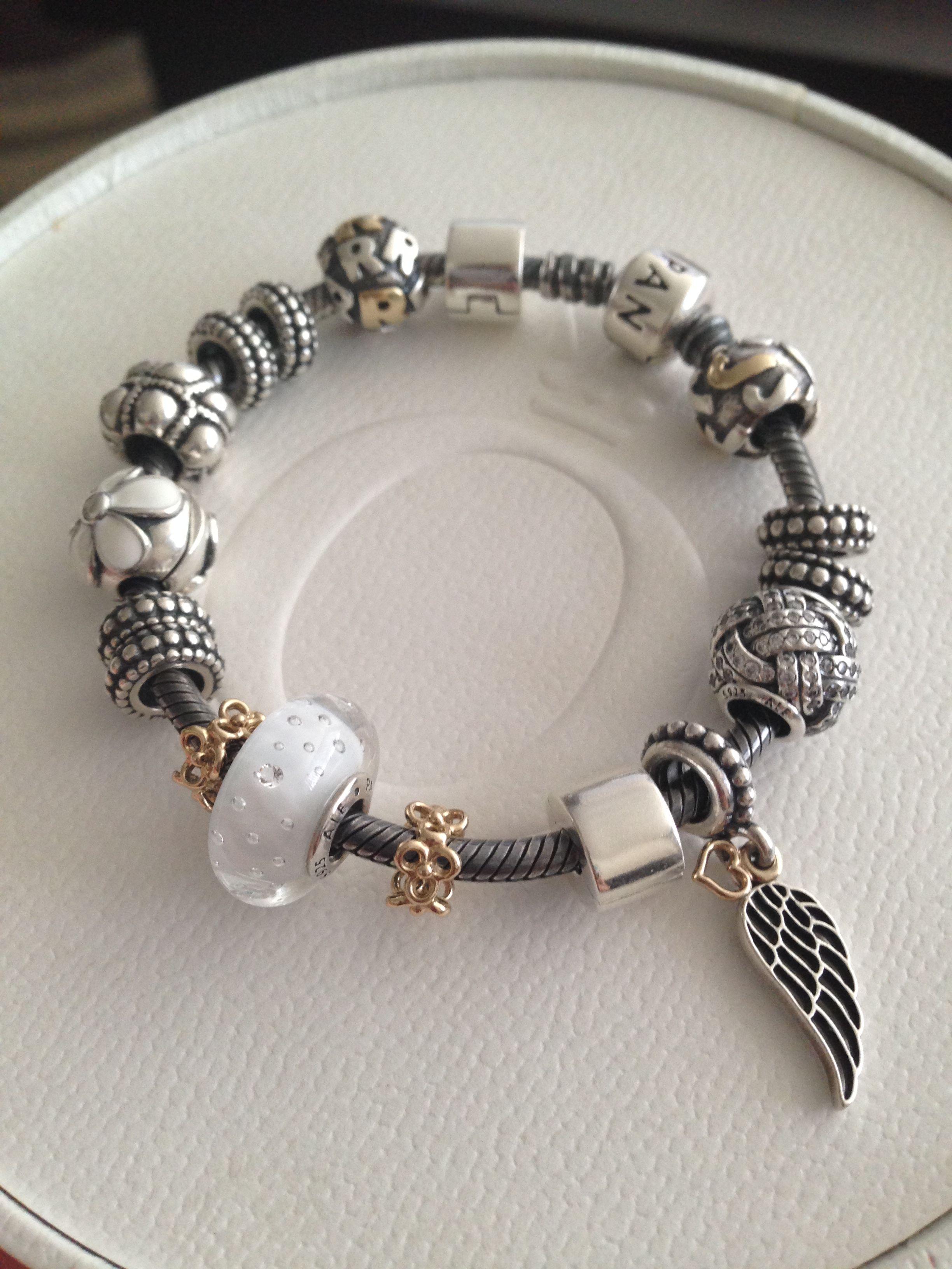 Pandora Oxidized Bracelet With White Pandora Bracelet Designs Pandora Bracelet Charms Pandora Jewelry