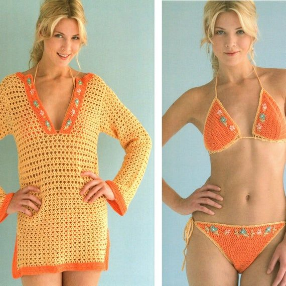 Vintage Crochet Pattern  Halter Bikini and Beach Tunic Cover Up  Beach Dress  1970s Retro INSTANT DO #crochetbeachdress