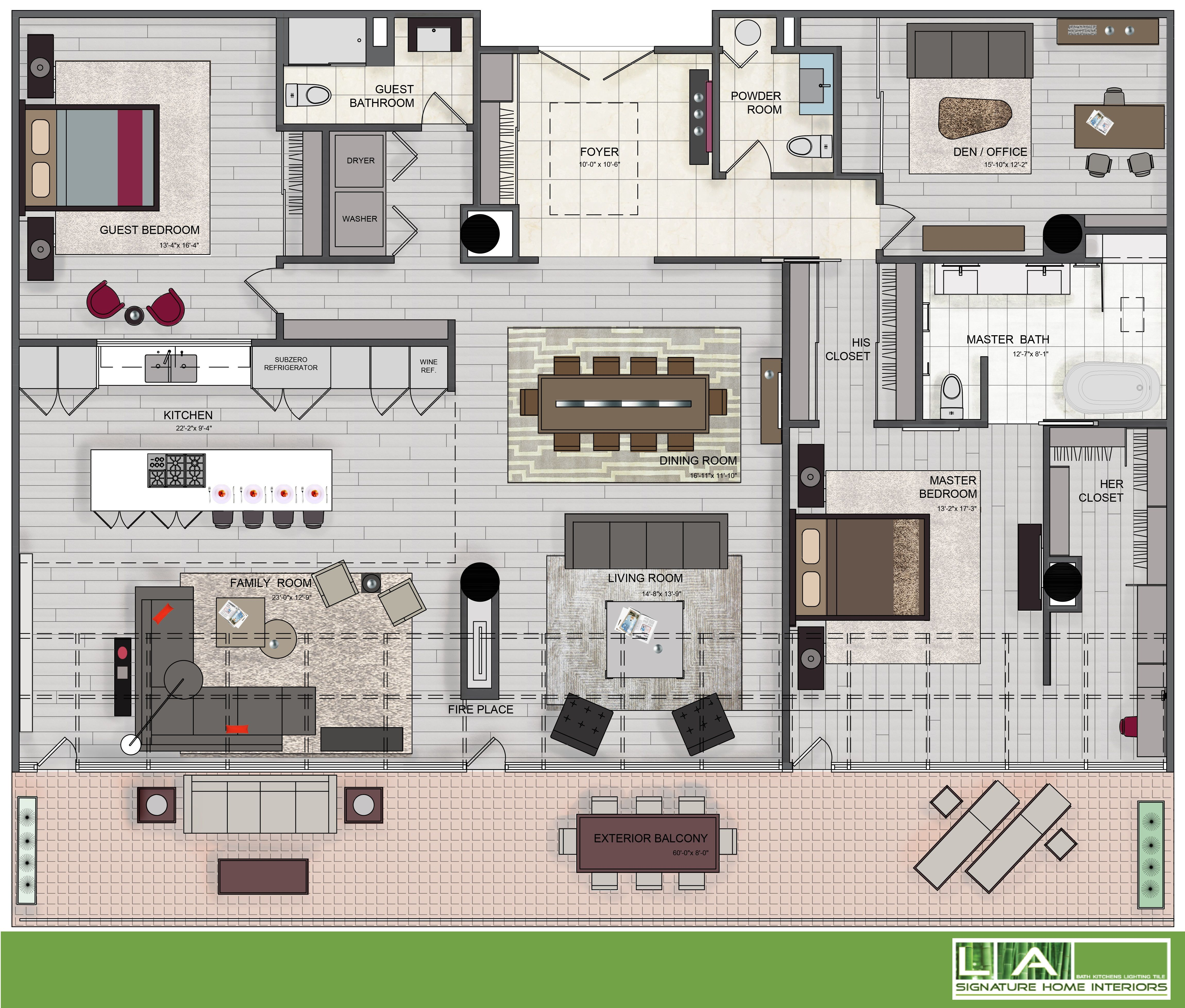 A rendered floor plan helps clients to visualize walking