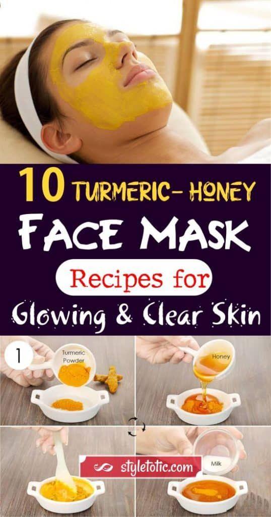 10 Diy Turmeric Honey Face Mask Recipes For Glowing And Clear Skin Glowing Skin Mask Honey Facial Mask Clear Skin Face