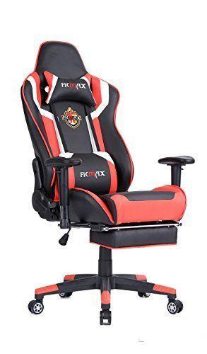 Ficmax Grande Taille Ergonomique Hauteur Rglable Racing Chaise De Bureau Avec Massage Cousin Lombaire Et Repose Pieds Noir Rouge