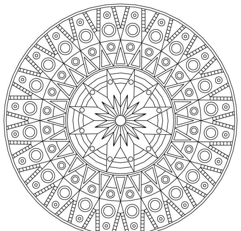 coloriage à imprimer mandala à motifs géométriques et cercles ...
