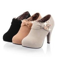 Fashion Wedding Party Womens Platform High Heel Ankle Boots Sexy Winter Bow Rhinestone Suede Boots with Zipper