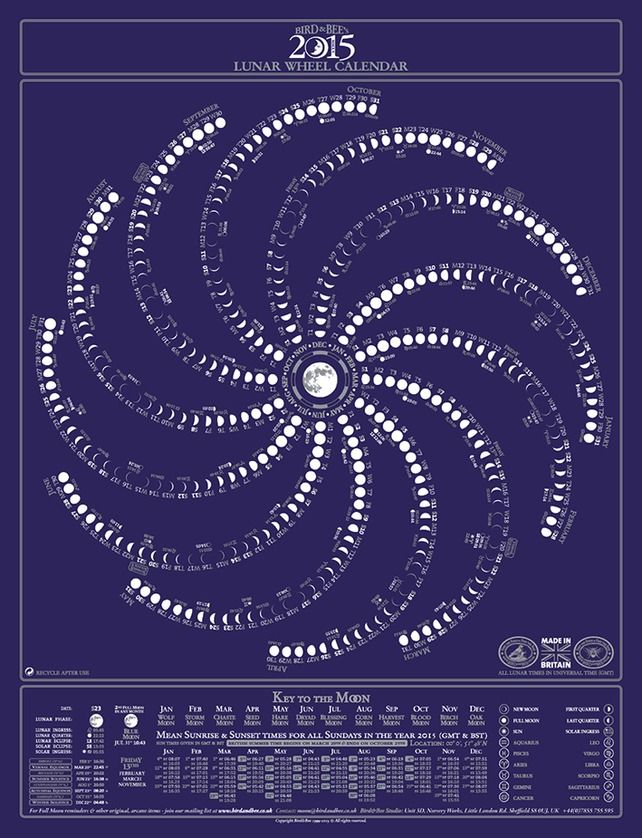 Moon Calendar Bird Bee 39 S Original Lunar Wheel Calendar Moon Chart 2015 Astrology