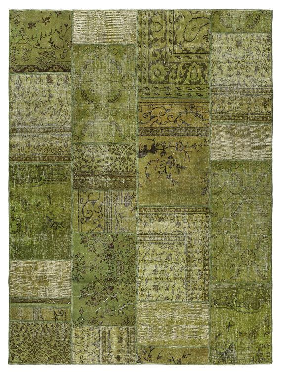 99x73 Inches Green Color Patchwork Rug - Handmade New Design Rug - 735 on Etsy, $529.00