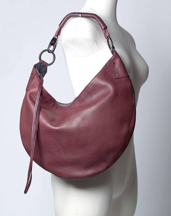 Gucci Large Crescent Burgundy Leather Hobo Bag Vintage - another gorgeous Tom  Ford designed vintage Gucci classic! 518bf74215