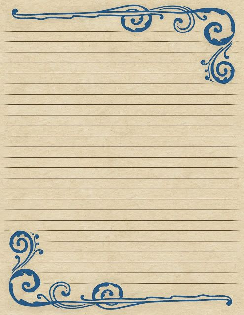 Lilac  Lavender Swirling Border  Lined Paper *Printable