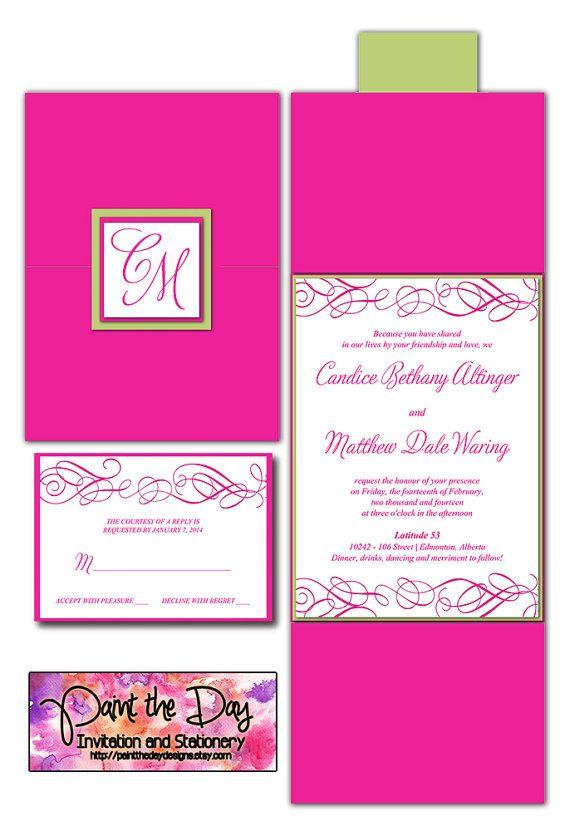 Whimsical Swirls Wedding Pocketfold  Microsoft Word Template