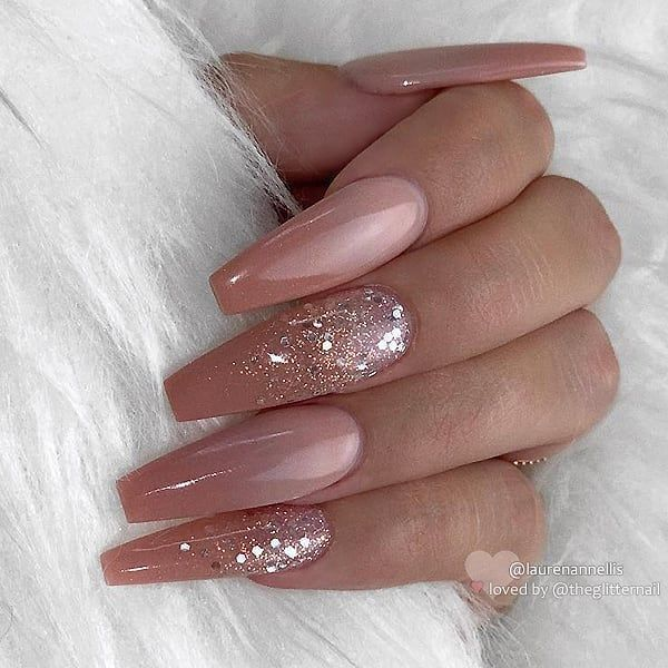 """TheGlitterNail 🎀 Get inspired! on Instagram: """"✨ Peachy Nude Ombre with Glitter on long Coffin Nails 👌 • 💁 Nail Model: @laurenannellis 💅 Nail Artist: CN Nails & Spa Chelmsford • 👉 Turn…"""""""