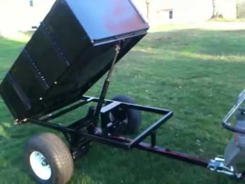Home Made Atv Dump Cart Youtube Homemade Tractor Dump Cart