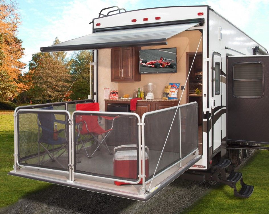 Magnificent fifth wheel with outside kitchen and bunk beds for Patio decks for sale