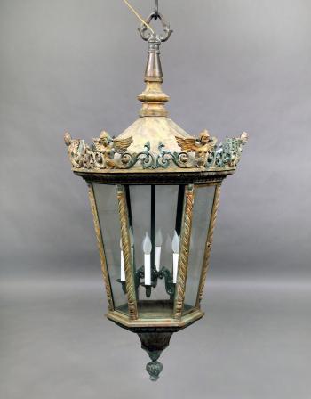 A Large Late 19th Century Bronze Six Light Street Lantern Charles Cheriff Galleries Antique Lighting Hanging Lanterns Street Lamp