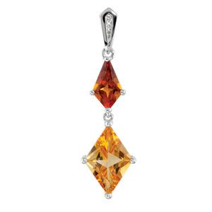 69631 / Sterling Silver / .025 CTTW / Polished / MADEIRA CITR,CITRINE&DIA PEND