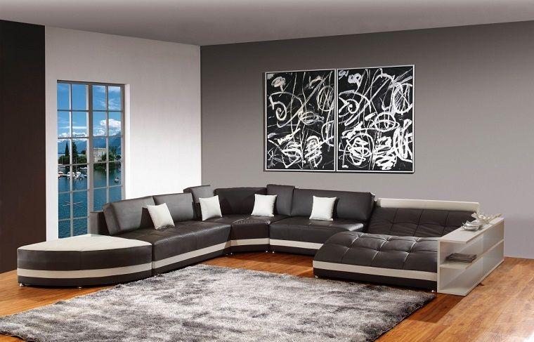 Pareti Grigie Salotto Grande Divano Salotto Living Room Room E
