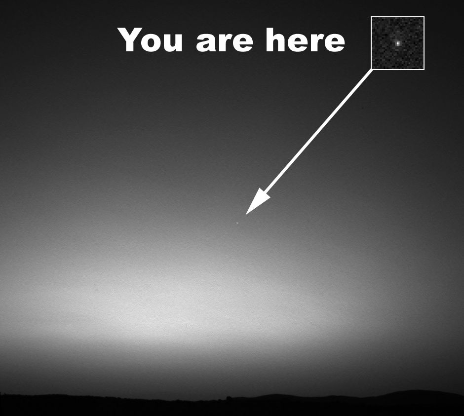 The Mars rover Spirit captured this image on March 8, 2004. It was the first image of our world taken from another planet beyond our Earth-moon system.