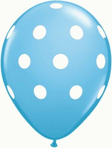 "10 x Qualatex Big Polka Dots White with Blue Spots 11/"" Latex Balloons"